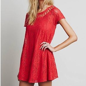 Free People Red Eyelet Dress S